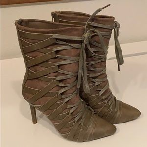 FOREVER Taupe Pointed Toe Lace Up Stiletto Boot